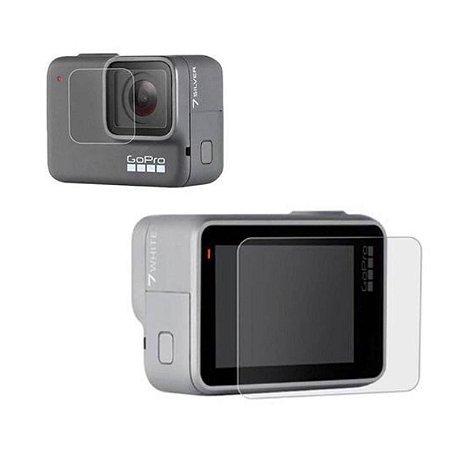 Kit com Duas Películas em Vidro para Tela e Lente das Câmeras GoPro HERO7 Silver e GoPro HERO7 White