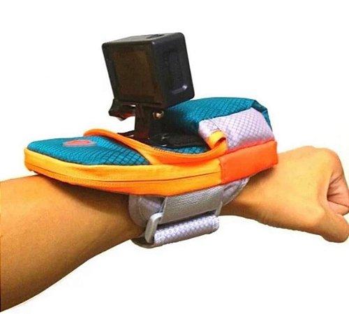 Bolsa de braço ou pulso resistente à água com suporte para câmeras GoPro e similares