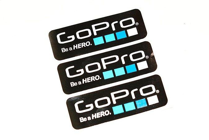Kit com 3 Adesivos ORIGINAIS GoPro - Produto Reembalado