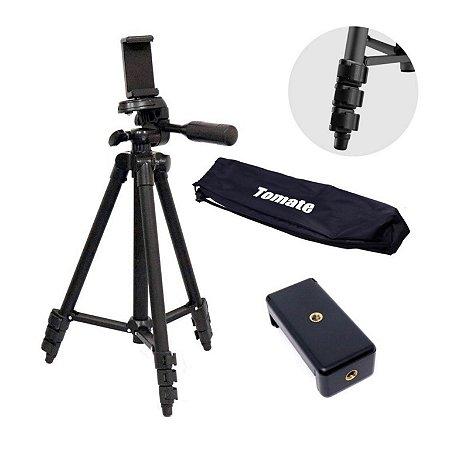 Tripé Universal em Alumínio Tomate 1,06m MTG-3011 com adaptadores para GoPro e celulares