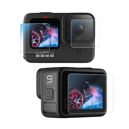 kit de Películas em Vidro Temperado para GoPro HERO9 Black e GoPro HERO10 Black