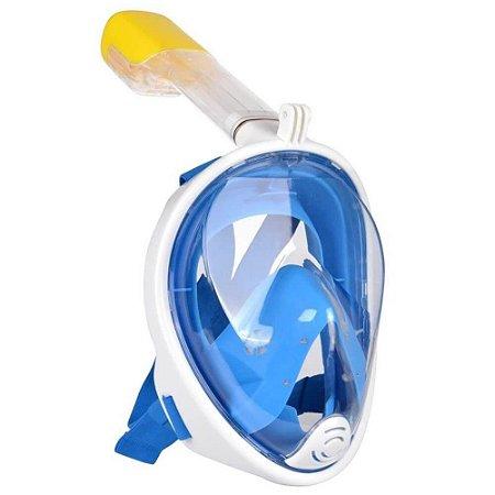 """Máscara de mergulho Fullface Tamanho """"G"""" com Snorkel e Base para Gopro, DJi Osmo Action, SJCam e Similares"""