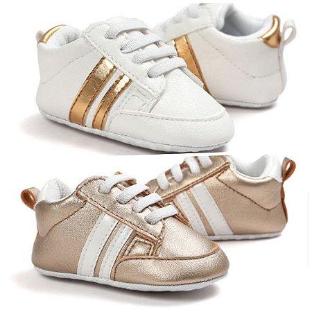 Kit com 2 Tênis - Lines baby gold