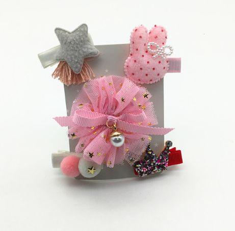 Kit de laços cinza e rosa