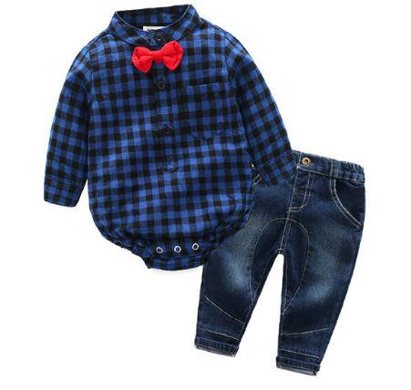 Conjunto de bebê - Xadrez Azul