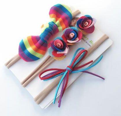 Kit com 3 headbands - Arco-íris