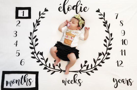 Tapete decorado para fotos mensais do bebê