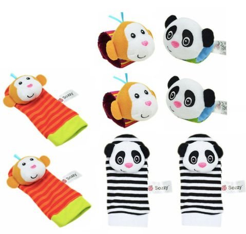 Kit de braceletes e meias para bebe use toys - Macaco e panda