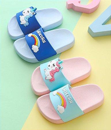 Chinelo Slide Rainbow Unicorn