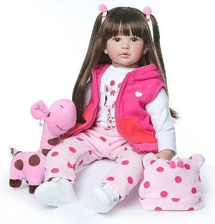 Boneca Realista Bebê Reborn 47 cm com Girafinha - Cabelo Longo