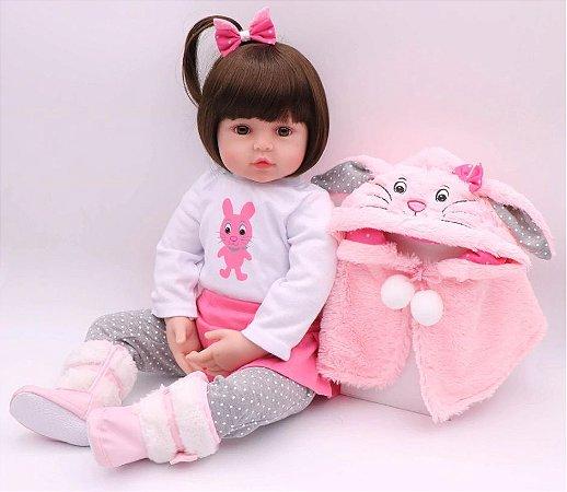 Boneca Realista Bebê Reborn 47 cm com Capa de Pelúcia