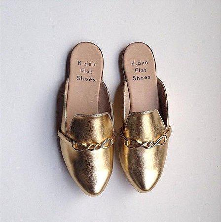 Mule Fivela Metalizada Dourada
