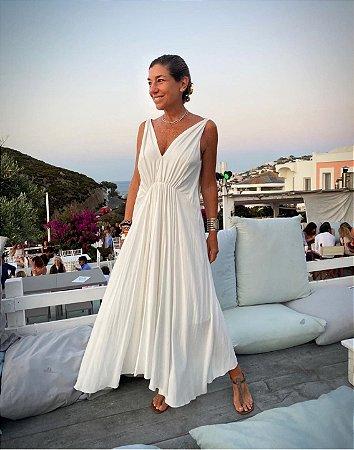 Vestido Grego seda mista c/ franzido na frente