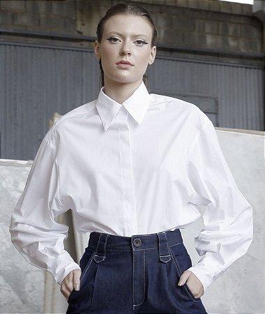 camisa tricoline manga ampla
