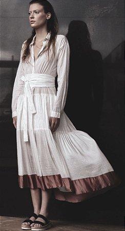 Vestido Mix, linho, seda e algodão