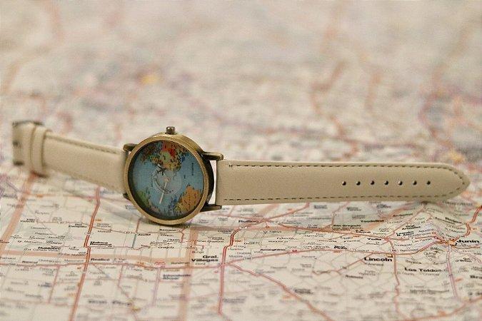 Relógio Mini Mundo Branco