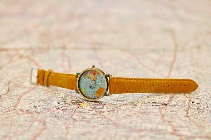 Relógio Mini Mundo Amarelo