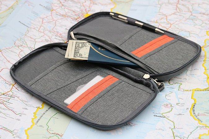 Carteira para Passaporte - Cinza