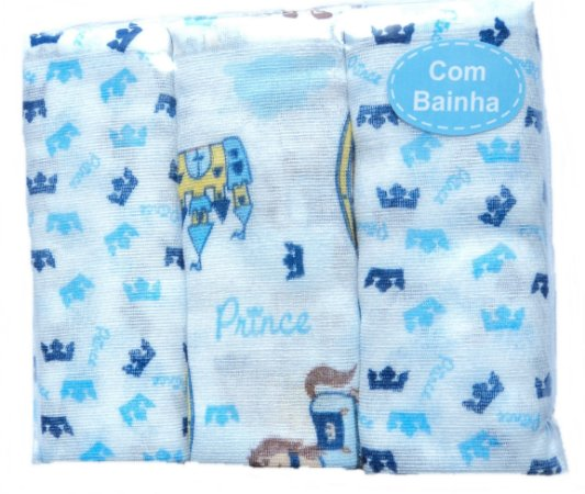 Fraldas em tecido com bainha estampadas 70cm x 65cm com 3/uni