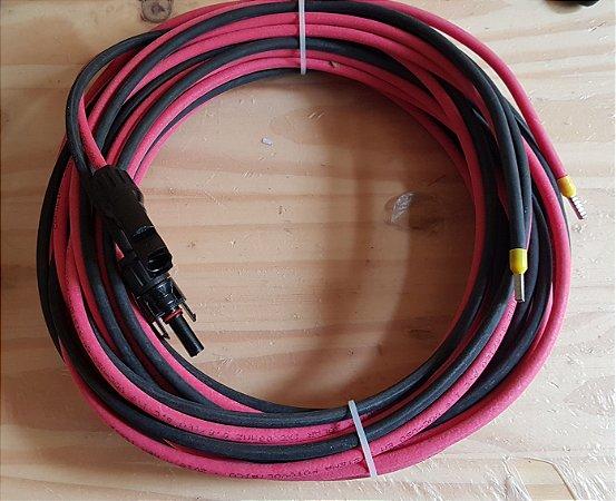 Cabo solar  6mm² Vermelho e Preto 5 mts + conector Mc4