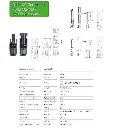 50 pares de Conector MC4  30A 1000Vdc para painéis Fotovoltaico