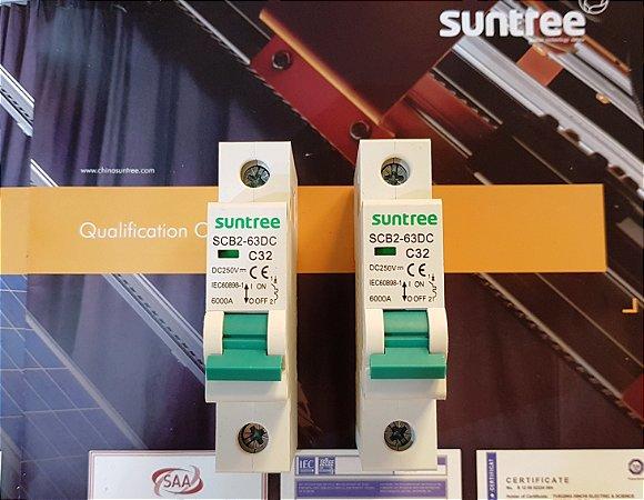 Disjuntor CC Unipolar 32A 250VDC SCB2 Suntree