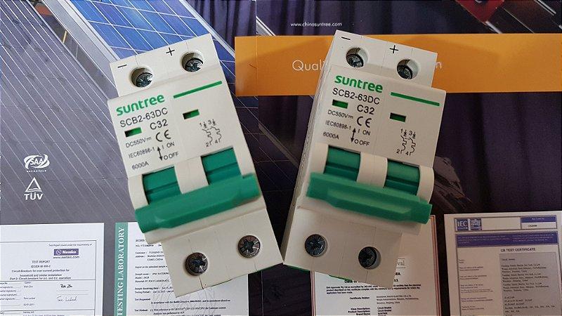 Disjuntor CC Bipolar 32A 550VDC SCB2 Suntree