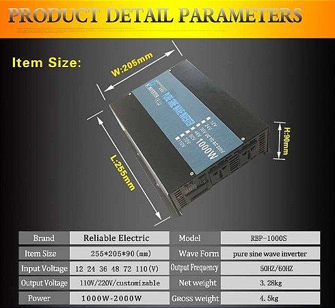 Inversor 1000 Watts Onda Senoidal Pura 24vdc Saida 120v