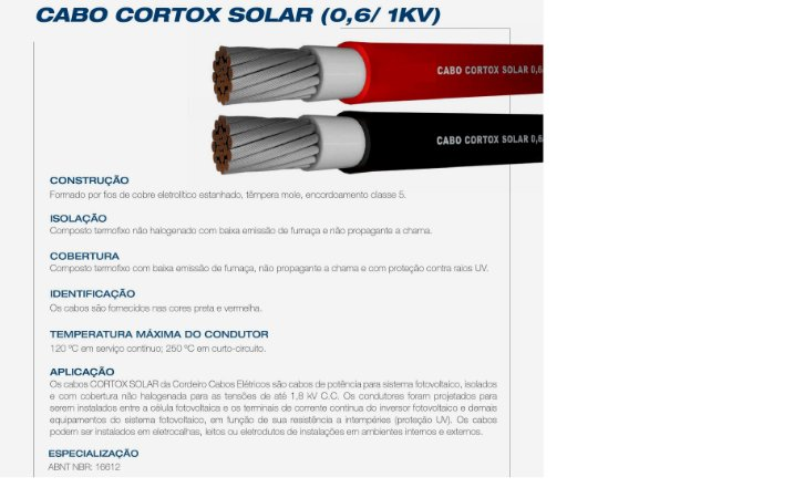 Rolo de 100 mts Cabo Solar CORTOX 1,8 KV 4mm²  Preto