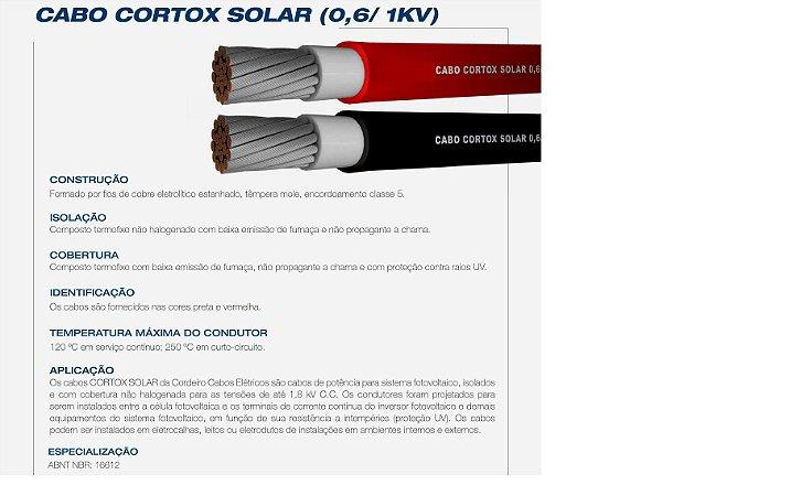 Rolo de 100 mts Cabo Solar CORTOX 1,8 KV 6mm²  Preto