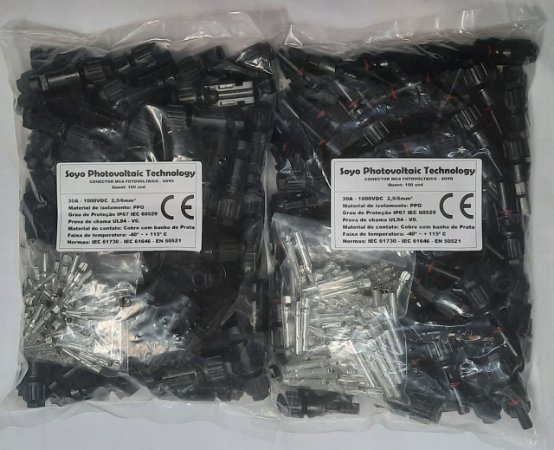 100 Pares de Conectores MC4 SOYO 30A 1000VDC