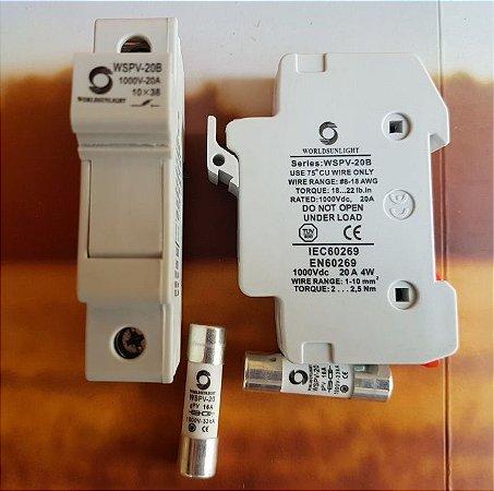 Porta Fusível Dc 10x38 Solar  c/ fusivel 16A 1000VDC gPV SUNLIGHT