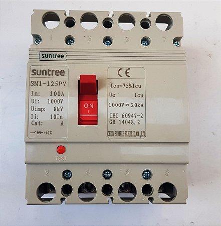 Chave CC 4 polos Caixa Moldada SM1-125 PV 1000 VDC 100A Suntree