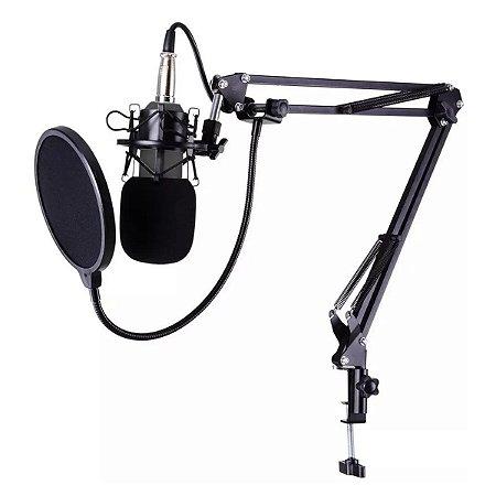 Microfone Estúdio Bm800 + Aranha + Braço + Pop Filter