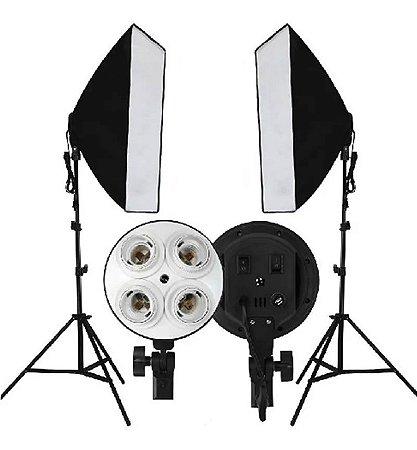 Kit 2 Soft Box Tipo Sombrinha 50x70cm + 2 Tripe 2m