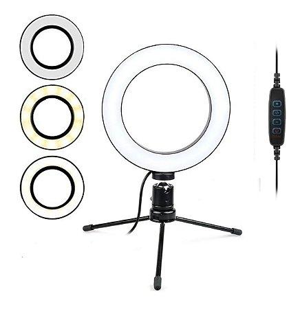 Ring Light Iluminador Selfie Makeup Tripé De Mesa Luz Led
