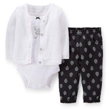 Conjunto com body, cardigan e calça estampada
