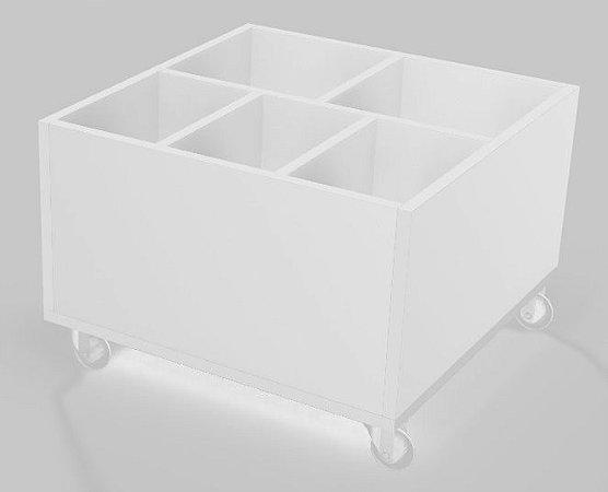 Mesa de centro com porta objetos e rodízio  - branco