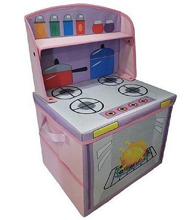 Caixa fogãozinho - Baú infantil porta brinquedos - Montessoriano
