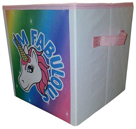 Caixa Organizadora Unicórnio Quarto De Menina Montessoriano