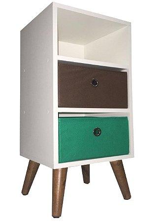 Mesa de cabeceira com 2 gavetas e pé palito