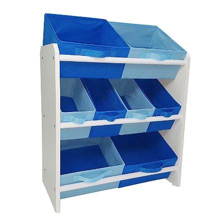 Organizador de brinquedos infantil médio - azul royal e azul bebê