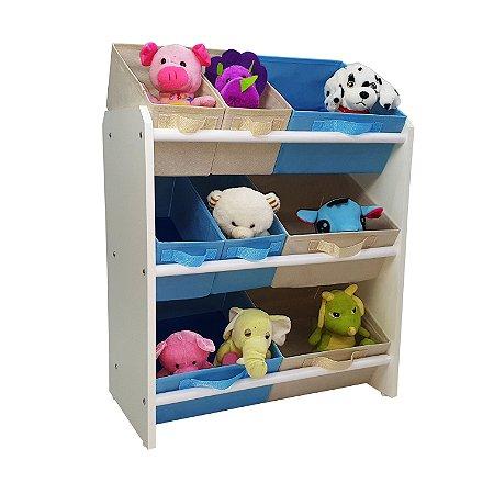 Organizador de brinquedos infantil médio - azul bebê e bege palha