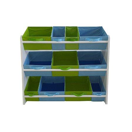 Organizador de brinquedos infantil grande - azul bebê e verde limão