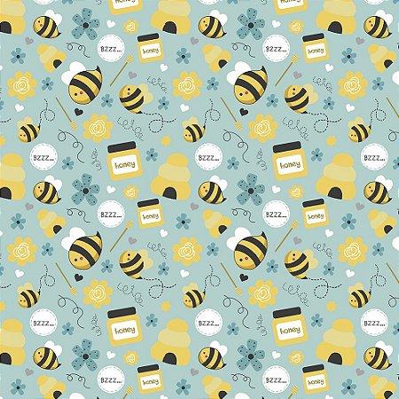 TECIDO 100% ALGODÃO FABRICART COLEÇÃO HONEY BEE - HONEY BEE - PREÇO DE 0,50 x 1,50MT