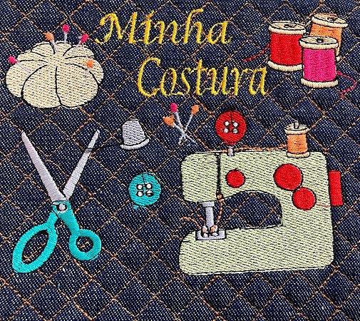 CORTE DE MATELASSADO BORDADO JEANS MINHA COSTURA 25X41CM