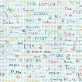 TECIDO 100% ALGODÃO FABRICART- MY FAMILY- ESCREVENDO A FAMILIA- PREÇO DE 0.50 x 1,50