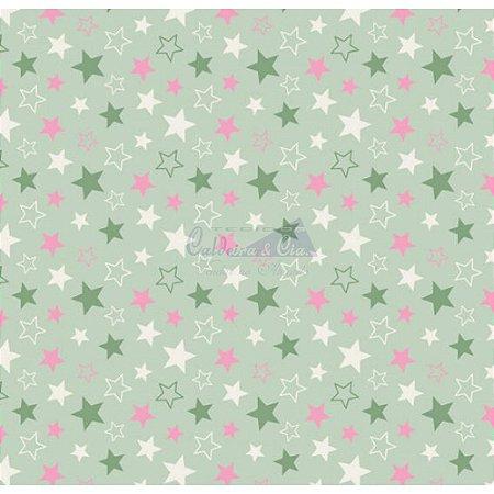TECIDO 100% ALGODÃO-CALDEIRAS -STARS- FUNDO VERDE- PREÇO DE 0.50 x 1,50