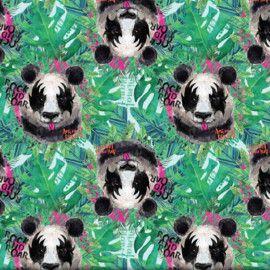 TECIDO 100% ALGODÃO FABRICART-COLEÇÃO ANIMAL PLANET -KISS PANDA-PREÇO DE 0.50 x 1,50