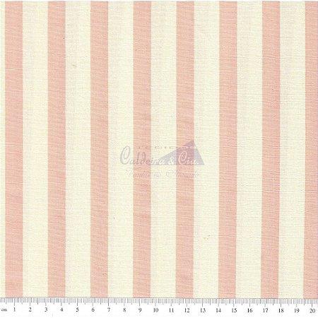 TECIDO 100% ALGODÃO-CALDEIRAS -LISTRAS ROSE FUNDO CREME- PREÇO DE 0.50 x 1,50